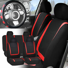 Car Seat Covers Red Black Full Set for Auto w/Red Leather Steering Wheel