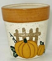 "Ceramic Planter Pot Textured Pumpkins on Fencepost 5.25""H x 5""W Fall Harvest"