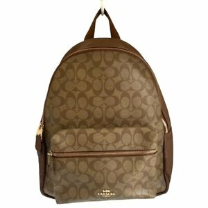 Auth COACH Signature Charly Bag Pack F58314 Khaki Dark Brown PVC Leather