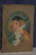 tableau peinture huile sur toile vers 1900 arlequin voir photos