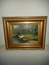 Old oil painting,{ Family ducks enjoying the water, is signed, nice frame }.