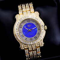 Fully Iced Men Gold Blue Watch Bling Rapper Simulate Lab Diamond Luxury Band