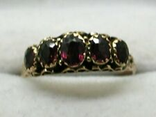 Edwardian Lovely 9 Carat Gold Five Stone Amethyst Ring Size Q.1/2