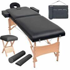 vidaXL Massageliege Hocker 2 Zonen Tragbar 10cm Polsterung Schwarz Massagebank