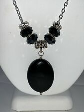 Chain Necklace With Black Onyx Stone Hand Made 38 Inch Silvertone Cable