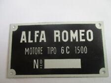 Nameplate Alfa Romeo Shield Id Plate 6C 1500 6C1500 6 C Motors