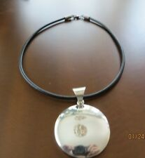 SILPADA .925 Sterling Wavy Medallion Disk Pendant S1123 w/Black Cord Necklace