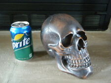 """MED BRONZE RESIN HUMAN SKULL 7"""" BY 6"""" WEIGHS 1+ LBS COOL SCARS WOOD LOOK COOL!!!"""
