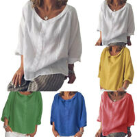 Womens Summer Loose Short Sleeve Casual Tunic Tops Blouse Lady T-Shirt Plus Size