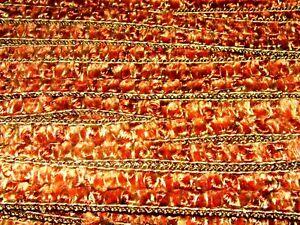 orange crushed velvet upholstery trim braid edging 15mm T032