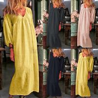 UK Womens Puff Sleeve V Neck Beach Dress Cotton Casual Loose Kaftan Maxi Dresses