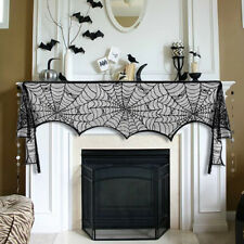 Halloween Decor Black Spiderweb Tablecloth Fireplace Mantle Scarf Cover  Party