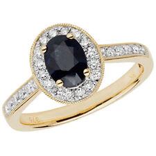 Diamond Oval Sapphire Yellow Gold Fine Rings
