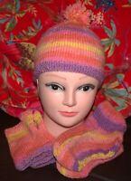 Ladies Bobble Hat, Half Mittens, Bed Socks Set Multi Coloured Mainly Orange New