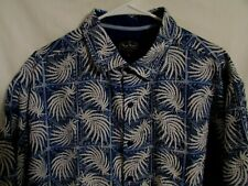 NAT NAST Men's XL Silk & Cotton Blue & White Short Sleeve Shirt