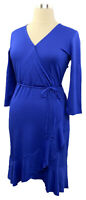 New ISAAC MIZRAHI LIVE! Size M Ink Blue 3/4 Sleeve Knee Length Surplice Dress