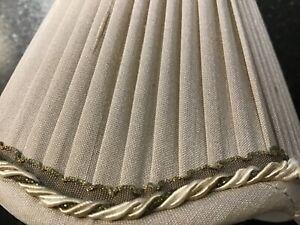 Taupe Beige Silk Sconce Lamp Shade Scalloped Edge Braid Trim   5 in. EUC