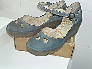 """FLY london """"Yuna """"Teal leather sling backs Wedged approx 2.5"""" SZ 39 GOOD CONDITI"""