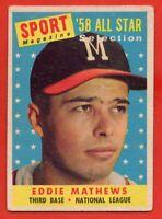 1958 Topps #480 Eddie Mathews GOOD/VG CREASE HOF Milwaukee Braves FREE SHIPPING