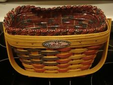 Longaberger 1998 25th Anniversary Basket, Protector and Liner - Euc Flags