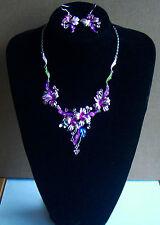 Flower Necklace & Earring set Pinks & Blue
