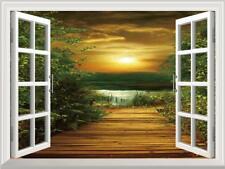 3D Window View Sunset Wood Bridge Seascape Wall Sticker Vinyl Decal Wallpaper