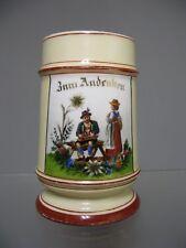 Ancienne Chope à Biére Bavaroise avec Lithophanie. Porcelaine Allemande.