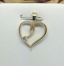14K Solid Yellow Gold Diamond Heart Pendant