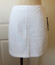 Cynthia Steffe Black Label ERICA White Cotton Eyelet Lined Mini Skirt - 8