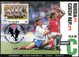 Football Maxicard 1996 Russia V Czech Rep. Handstamped #C26358