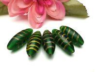 5 Stück grüne Feder Glasperle Lampwork handgemacht 32 x 13 mm