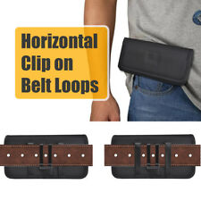 Cell Phone Pouch with Metal Belt Clip Holster And Loop Black Choose Your Size