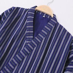 Japanese Kimono Yukata Men Cotton 3/4 Sleeve Stripe Bathrobe Sleepwear Home Bath
