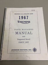 Triumph Motorcycle 1967 ,   Parts Managers Manual ,  Re-Print