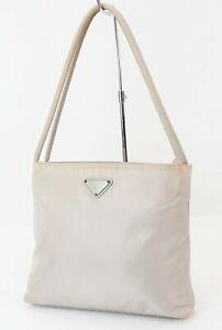 Authentic PRADA Beige Nylon Tote Hand Bag Purse #38162