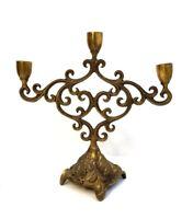Antique Ornate Brass Grape Design Base Three Candle Stick Holder