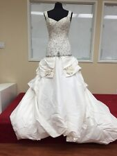 ST.PUCCHI by Rani,Bridal Gown,DRESS,#9383,SZ 10,SILK,floral,white +silver,NEW!16