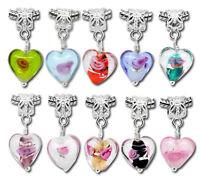 Wholesale Lots Mixed Glass Heart Dangle Beads Fit Charm Bracelet 28mmx12mm