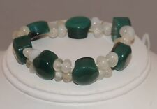 Green Onyx White Quartz Stone Bead Stretch Stretchy Bracelet D 42