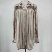 Anthropologie Floreat Top Norfolk Button Up Shirt Long Sleeve Stripe Size XS