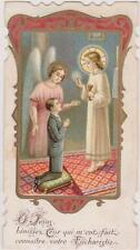IMAGE PIEUSE HOLY CARD SANTINI -  Enfant agenouillé-JESUS/EUCHARISTIE/ANGE