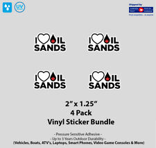 """4- Pack 2"""" x 1.25"""" I Love Canadian Oil Sands Vinyl Stickers"""