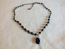 Beautiful Necklace Dark Silver Tone Black Beads Dangling Rhinestone Pendant NICE