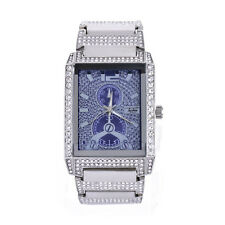 Techno Pave Men's Rapper Rectangle CZ Iced Silver Plated Metal Watches WM 8447 S