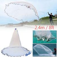 8FT 2.4m Fishing Cast Net Bait Easy Throw Hand Strong Nylon Mesh + Sinker