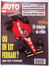 AUTO HEBDO 897 du 8/09/1993; Golf 4x4 275 Ch/ Fiat Punto GT Turbo 136 Ch