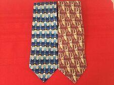 Lot Of 2 ERMENEGILDO ZEGNA Silk Neck Tie Neckties   (H43)