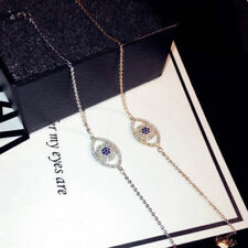 18K CT Gold Plated Evil Eye Bracelet Bangle made with Swarovski Elements SILVER