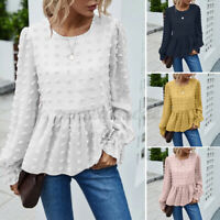 Women Long Sleeve Tiered Tops Shirt Tunics Tee T-Shirt Blouse Pullover Plus Size