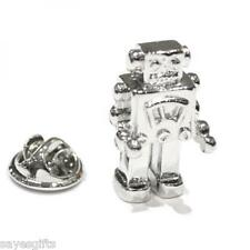 High Quality Rhodium Plated Square Retro Robot Lapel Pin Badge